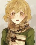 1girl alternate_costume bandaid bandaid_on_face blush breath brown_eyes gift grey_background kantai_collection light_brown_hair looking_at_viewer oboro_(kantai_collection) open_mouth po_(user_epy3888) scarf short_hair smile