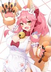 1girl :d animal_ear_fluff animal_ears apron bell bell_collar blush blush_stickers breasts cat_hair_ornament cat_paws cleavage collar commentary eyebrows_visible_through_hair fang fate/grand_order fate_(series) fox_ears fox_girl fox_tail gloves hair_ornament hair_ribbon highres holding holding_knife jingle_bell knife knives_between_fingers large_breasts long_hair naked_apron open_mouth paw_gloves paws phil pink_hair ponytail red_ribbon ribbon sideboob skin_fang smile solo tail tamamo_(fate)_(all) tamamo_cat_(fate) white_apron yellow_eyes