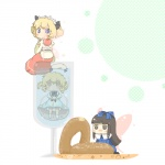 3girls blonde_hair cup doughnut eating fairy food in_container in_cup in_food inishie luna_child minigirl multiple_girls star_sapphire sunny_milk touhou wings