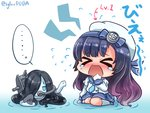 ... 2girls >_< aqua_eyes aqua_neckwear asimo953 asymmetrical_bangs bangs big_head black_hair blue_hair blue_sailor_collar blue_skirt blush cannon carrying chibi clenched_hand closed_eyes commentary_request crying d: directional_arrow dx eyebrows_visible_through_hair furrowed_eyebrows gloves gradient_hair grey_footwear hair_over_one_eye hand_up hat highres jitome ka-class_submarine kantai_collection kneehighs long_hair long_sleeves looking_at_another lying matsuwa_(kantai_collection) miniskirt multicolored_hair multiple_girls neckerchief no_nose no_pupils nose_blush on_stomach open_mouth outstretched_arm outstretched_hand oxygen_mask partially_submerged pleated_skirt puffy_long_sleeves puffy_sleeves purple_hair reaching ripples sailor_collar sailor_hat school_uniform serafuku shinkaisei-kan shiny shiny_hair shirt simple_background sitting sketch_eyebrows skirt sleeve_cuffs speech_bubble spoken_ellipsis sweat tears translated turret twitter_username two-tone_hair very_long_hair wariza water wavy_hair wavy_mouth white_background white_gloves white_hat white_legwear white_shirt