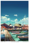 1girl artist_name black_hair boat chong_feigiap cloud day highres house looking_away original outdoors pier real_world_location scenery short_hair sky solo standing watercraft watermark web_address