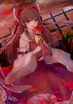 1girl :d bai_qi-qsr bow brown_hair detached_sleeves eyebrows_visible_through_hair flower hair_bow hakurei_reimu holding holding_flower long_hair long_skirt looking_at_viewer night open_mouth outdoors red_bow red_eyes red_flower red_shirt red_skirt ribbon-trimmed_sleeves ribbon_trim shirt signature skirt sleeveless sleeveless_shirt smile solo touhou very_long_hair