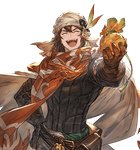 1boy bandana belt brown_gloves cape closed_eyes gift gloves granblue_fantasy hand_on_hip incoming_gift long_hair male_focus minaba_hideo nezahualpilli official_art open_mouth orange_scarf pouch scarf smile solo transparent_background white_day