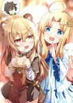 1boy 2girls :d ahoge angel_wings animal_ear_fluff animal_ears bangs blonde_hair blue_bow blue_eyes blurry blurry_background bow brown_capelet brown_dress brown_hair capelet collarbone commentary depth_of_field dress drooling eyebrows_visible_through_hair feathered_wings fingernails firo_(tate_no_yuusha_no_nariagari) food food_on_face green_eyes grey_shirt hair_between_eyes hair_ornament hand_up highres holding holding_food index_finger_raised iwatani_naofumi long_hair long_sleeves mouth_drool multiple_girls open_mouth parted_bangs pixiv_id raccoon_ears raphtalia red_eyes ribbed_shirt sandwich shirt signature smile tate_no_yuusha_no_nariagari time_paradox twitter_username very_long_hair white_dress white_wings wide_sleeves wings xephonia