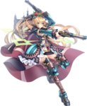 1girl aiming artist_request black_ribbon blonde_hair blue_dress blue_eyes boots capelet castle crown dress dual_wielding flower full_body gun hair_between_eyes hair_flower hair_ornament hair_ribbon high_ponytail holding holding_gun holding_weapon kronborg_(oshiro_project) long_hair looking_at_viewer official_art oshiro_project oshiro_project_re platform_boots platform_footwear ribbon solo thigh_boots thighhighs transparent_background very_long_hair weapon