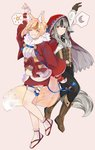 2girls animal_ears arm_up belt black_hair black_pants blonde_hair boots brown_footwear brown_gloves brown_hair cloak closed_eyes closed_mouth commentary corset fingerless_gloves fire_emblem fire_emblem_if fox_ears fox_tail full_body gloves grey_hair grin hair_ornament highres hood hood_up hooded_cloak japanese_clothes kinu_(fire_emblem_if) long_hair long_sleeves multicolored_hair multiple_girls nya_deko pants short_hair simple_background smile streaked_hair tail velour_(fire_emblem_if) white_gloves white_legwear wolf_ears wolf_tail