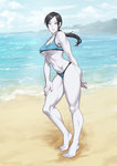 1girl barefoot beach black_hair breasts cloud day elee0228 full_body large_breasts long_hair muscle muscular_female ocean outdoors ponytail silver_eyes sky solo standing swimsuit tankini underboob water white_skin wii_fit wii_fit_trainer