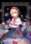 alice_margatroid ascot black_legwear blonde_hair blue_dress blue_eyes bug butterfly capelet dress floral_background flower frills hair_flower hair_ornament hairband holding holding_flower insect kazu_(muchuukai) long_sleeves looking_at_viewer ribbon sash short_hair star touhou
