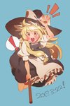 ! 1girl arm_up bangs black_hat black_skirt blonde_hair blue_background blush bow broom broom_riding dated eyebrows_visible_through_hair hat hat_bow kirisame_marisa long_hair looking_at_viewer masanaga_(tsukasa) notice_lines open_mouth puffy_short_sleeves puffy_sleeves short_sleeves sidelocks simple_background skirt skirt_set solo spoken_exclamation_mark touhou white_bow witch_hat yellow_eyes