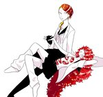 2others alternate_costume androgynous blonde_hair contemporary full_body gem gloves grin holding_hands houseki_no_kuni labcoat long_hair looking_at_another lying multicolored multicolored_eyes multicolored_hair multiple_others on_back open_clothes open_shirt padparadscha_(houseki_no_kuni) red_eyes red_hair rutile_(houseki_no_kuni) sailor_collar school_uniform short_hair sitting skirt smile sparkle thighhighs usako_(arisusagi) very_long_hair wavy_hair white_background yellow_eyes