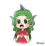 1girl alternate_hairstyle animal_ears animated chamaji clenched_hands closed_eyes closed_mouth cloud_print curly_hair fang green_eyes green_hair hands_up horn kariyushi_shirt komano_aun long_hair open_mouth party_whistle red_shirt shirt short_sleeves simple_background solo spiked_hair touhou twitter_username ugoira upper_body white_background