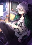 1boy ahoge black_pants chair chips collarbone commentary_request cup danganronpa drinking_straw eyebrows_visible_through_hair food glasses green_eyes hair_between_eyes headphones headphones_around_neck highres holding in_mouth indoors keyboard_(computer) knee_up komaeda_nagito male_focus medium_hair messy_hair monokuma nanin notes pants pen pocky screen shirt sitting solo super_danganronpa_2 teeth translation_request white_hair white_shirt