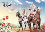 1boy 1girl background blonde_hair blue_eyes brown_hair flower garter_belt gloves green_eyes hair_ornament horse horseback_riding korean malgwa_naui_iyagi_alicia riding scenery side_ponytail tearfish translated