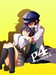 2girls bad_id bad_pixiv_id dark_persona dual_persona labcoat multiple_girls open_mouth oversized_clothes persona persona_4 sake_asari shirogane_naoto short_hair simple_background time_paradox yellow_background yellow_eyes