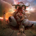 3girls bandages blood cloud copyright_request earrings flower gas_mask guro helmet horns horror_(theme) jewelry justin_cherry looking_at_viewer monster multiple_girls nude petals rose sky surreal what white_eyes wings