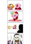 1boy 2girls 4koma chrollo_lucilfer comic crossover hunter_x_hunter k_mitsuhoshi kirby_(series) machi_(hunter_x_hunter) multiple_girls shizuku_(hunter_x_hunter) translation_request waddle_dee waddle_doo
