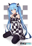 1girl 2017 absurdres bare_shoulders black_legwear blue_eyes blue_hair character_name checkered checkered_dress collar dress hatsune_miku highres long_hair looking_at_viewer nagisa_(pixiv17634981) pantyhose sitting smile solo twintails very_long_hair vocaloid