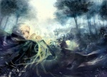 1boy blaze_wu forest glasses grey_hair male_focus nature original priest undead
