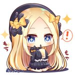! +_+ 1girl abigail_williams_(fate/grand_order) bangs black_bow black_dress black_footwear black_headwear blonde_hair blue_eyes blush bow bubble_tea bug butterfly chibi commentary_request cup disposable_cup dress drinking drinking_straw fate/grand_order fate_(series) forehead full_body hair_bow hat holding holding_cup insect long_hair long_sleeves orange_bow parted_bangs polka_dot polka_dot_bow shadow shoes sitting sleeves_past_fingers sleeves_past_wrists solo sparkle spoken_exclamation_mark twitter_username very_long_hair wariza white_background yukiyuki_441