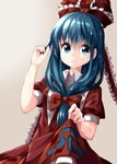 1girl aqua_eyes aqua_hair bangs bow breasts closed_mouth collared_shirt commentary dress dutch_angle eyebrows_visible_through_hair face frilled_dress frilled_ribbon frills front_ponytail gradient gradient_background hair_bow hair_ribbon head highres holding holding_hair kagiyama_hina kerchief long_hair looking_at_viewer puffy_short_sleeves puffy_sleeves red_dress red_ribbon ribbon ruu_(tksymkw) shirt short_sleeves skirt_hold sleeve_cuffs small_breasts smile standing swirls touhou upper_body water wet wet_clothes wet_dress wet_hair white_background white_collar white_frills