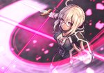1girl ahoge artoria_pendragon_(all) bike_shorts black_shorts blonde_hair blood bloody_clothes brown_eyes fate/grand_order fate_(series) glasses gym_uniform holding holding_sword holding_weapon hood hooded_jacket jacket kuroshio_(zung-man) looking_at_viewer mysterious_heroine_x_(alter) open_clothes open_jacket parted_lips purple-framed_eyewear semi-rimless_eyewear shorts sidelocks solo standing sword tied_hair under-rim_eyewear uniform weapon