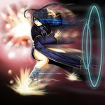 1girl antenna_hair bandaged_leg bandages black_hair blue_dress blue_eyes capelet china_dress chinese_clothes commentary_request dress explosion fighting_stance flats full_body glowing glowing_eyes hair_rings hamaeru highres hip_vent kung_fu long_dress long_hair long_sleeves motion_blur original pelvic_curtain solo split_ponytail tetsuzankou very_long_hair