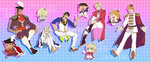 5boys antonio_lopez barnaby_brooks_jr blonde_hair brown_hair cape crown formal ivan_karelin kaburagi_t_kotetsu keith_goodman mamemo_(daifuku_mame) multiple_boys tiger_&_bunny toggles vest
