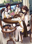 3girls breasts brown_hair flower glasses long_hair multiple_girls ragnarok_online tea xration