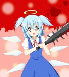 +_+ 1girl :d blood bokusatsu_tenshi_dokuro-chan chiro_(bocchiropafe) cirno club commentary_request cosplay crossover excalibolg halo light_blue_hair mitsukai_dokuro mitsukai_dokuro_(cosplay) neck_ribbon open_mouth ribbon smile solo spiked_club symbol-shaped_pupils touhou twintails weapon