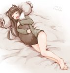 1girl animal_ears barefoot bed_sheet between_legs bottomless brown_hair closed_eyes commentary dated eyebrows_visible_through_hair fang holo hug kazaguruma long_hair long_sleeves lying on_side open_mouth pillow signature sleeping solo spice_and_wolf tail tail_between_legs tail_hug twitter_username wolf_ears wolf_tail