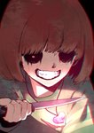 1other brown_hair chara_(undertale) chromatic_aberration evil_grin evil_smile glowing grin heart heart_necklace holding holding_knife knife missing_eye red_eyes smile solo striped striped_sweater sweater undertale upper_body uta_(xuyansong1996)