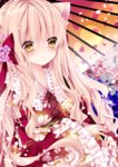 1girl animal_ears bangs blonde_hair blush bow brown_eyes cat_ears cherry_blossoms commentary_request eyebrows_visible_through_hair floral_print frilled_sleeves frills hair_between_eyes hair_bow holding holding_umbrella japanese_clothes kimono long_hair long_sleeves looking_at_viewer nanase_kureha nanase_nao obi oriental_umbrella original parted_lips petal_print petals print_kimono print_umbrella red_bow red_kimono sash sleeves_past_wrists solo umbrella upper_body very_long_hair wide_sleeves