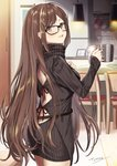 1girl backless_outfit bangs black-framed_eyewear black_sweater blush breasts brown_eyes brown_hair ceiling_light chair commentary_request consort_yu_(fate) cowboy_shot cup dress ear_piercing fate/grand_order fate_(series) fingernails glasses holding holding_cup indoors long_hair long_sleeves looking_at_viewer looking_back medium_breasts mug parted_lips piercing red_ribbon ribbed_sweater ribbon signature sleeves_past_wrists solo sweater sweater_dress table tyone upper_teeth very_long_hair wooden_floor