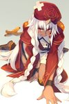 1girl all_fours banana banana_peel blush braid buttons cis05 commentary dark_skin dress eyebrows_visible_through_hair fate/grand_order fate_(series) food fruit hair_between_eyes hair_ornament hat jacket kneeling lakshmibai_(fate/grand_order) long_hair open_clothes open_eyes open_mouth red_eyes red_headwear red_jacket short_dress simple_background solo twin_braids very_long_hair white_dress white_hair