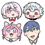 2boys 2girls :d ahoge antennae ascot bangs bkub blue_hair blush blush_stickers bow bowtie cabbie_hat chin commentary constricted_pupils diamond-shaped_pupils dot_nose earrings eyebrows_visible_through_hair eyelashes facial_mark fangs hair_between_eyes hair_ornament hairclip hat highres jewelry kenmochi_touya kuzuha_(nijisanji) multiple_boys multiple_girls nijisanji no_nose open_mouth pink_eyes pink_hair pink_hat pointy_ears portrait purple_eyes red_bow red_eyes red_neckwear shiina_yuika short_hair simple_background smile symbol-shaped_pupils two_side_up ushimi_ichigo v-shaped_eyebrows virtual_youtuber white_background white_hair wing_collar