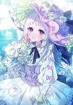 +_+ 1girl black_ribbon blurry blurry_background blush corset dress flower food fruit grapes hand_up hat hat_flower hat_ornament highres long_hair long_sleeves moe_(hamhamham) personification pocket pokemon puffy_long_sleeves puffy_sleeves purple_eyes ribbon shiinotic smile solo very_long_hair white_hair