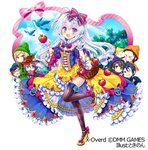 1girl 6+boys :d apple basket black_hair blonde_hair blue_hair blue_sky blush bow cloud cosplay food frills fruit glasses gloves green_hat hair_bow hand_up hat holding holding_food long_hair looking_at_viewer multiple_boys nonno official_art open_mouth orange_hat pink_bow pink_ribbon purple_eyes purple_hat red_bow red_hat ribbon silver_hair sky smile snow_white snow_white_(grimm) snow_white_(grimm)_(cosplay) snow_white_and_the_seven_dwarfs standing standing_on_one_leg tokinon tree white_gloves x-overd yellow_footwear yellow_hat