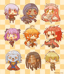 3girls 6+boys :d ;) ahoge assassin_(fate/extra) billy_the_kid_(fate/grand_order) black_legwear blonde_hair blue_hair blush braid brown_eyes checkered checkered_background chibi chinese_clothes crown cu_chulainn_alter_(fate/grand_order) daifuku_mogu dark_skin detached_sleeves fangs fate/extra fate/grand_order fate_(series) florence_nightingale_(fate/grand_order) geronimo_(fate/grand_order) grey_eyes helena_blavatsky_(fate/grand_order) highres holding holding_weapon holster hood lion long_hair looking_at_viewer medb_(fate/grand_order) multiple_boys multiple_girls one_eye_closed open_mouth orange_eyes orange_hair pink_hair pleated_skirt polearm ponytail purple_eyes purple_hair rama_(fate/grand_order) red_hair skirt sleeveless smile spear tail thighhighs thomas_edison_(fate/grand_order) topless weapon white_legwear