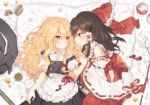 2girls apron bandaid bandaid_on_arm bed_sheet blonde_hair blush bow braid brown_eyes brown_hair cherry_blossoms commentary_request detached_sleeves eye_contact flower frilled_apron frills gohei hair_bow hair_tubes hajin hakurei_reimu hat hat_removed headwear_removed holding_hands kirisame_marisa long_hair long_sleeves looking_at_another lying mini-hakkero multiple_girls mushroom on_back on_side petals pillow profile puffy_short_sleeves puffy_sleeves red_bow ribbon-trimmed_sleeves ribbon_trim sarashi short_sleeves side_braid single_braid star tassel touhou waist_apron wavy_hair wide_sleeves witch_hat yellow_eyes yin_yang yuri