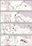 1girl 4koma ainu_clothes bangs bestiality blush bow breast_licking breasts comic dog eyebrows_visible_through_hair fate/grand_order fate_(series) forehead hair_bow hair_tubes hairband heart highres kiss licking long_hair long_sleeves missionary nude p_answer partially_colored red_eyes ribbon sex shirou_(fate/grand_order) sitonai small_breasts translation_request undressing