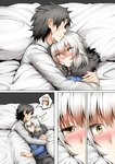 1boy 2girls ahoge anger_vein angry artoria_pendragon_(all) bed bed_sheet black_hair blonde_hair blush breasts comic commentary eyebrows_visible_through_hair faceless faceless_male fate/grand_order fate_(series) fujimaru_ritsuka_(male) fur_trim ginhaha grey_hair hair_between_eyes hug jeanne_d'arc_(alter)_(fate) jeanne_d'arc_(fate)_(all) multiple_girls nose_blush saber_alter short_hair spoken_person under_covers wicked_dragon_witch_ver._shinjuku_1999 wide_sleeves yellow_eyes