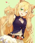 1girl :3 :d absurdres animal_ears arisa_(shadowverse) bangs bare_shoulders belt blush breasts brown_belt cleavage_cutout commentary dress dutch_angle elbow_gloves extra_ears eyebrows_visible_through_hair fang fox_ears fox_girl fox_shadow_puppet fox_tail gloves green_background green_eyes hair_between_eyes hands_up heart highres large_breasts long_hair looking_at_viewer loose_belt neck_ribbon one_eye_closed open_mouth orange_gloves parted_bangs paw_gloves paws pointy_ears red_ribbon ribbon shadowverse simple_background sleeveless sleeveless_dress smile solo tail very_long_hair yamato_(muchuu_paradigm)