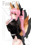 1girl alternate_costume alternate_hairstyle animal_ear_fluff animal_ears black_ribbon breasts cleavage commentary_request cosmetics fate/grand_order fate_(series) fox_ears fox_girl fox_tail hair_ribbon highres large_breasts lips lipstick long_hair long_ponytail looking_at_viewer looking_to_the_side makeup mimi nail_polish pink_hair ponytail red_lipstick ribbon see-through solo tail tamamo_(fate)_(all) tamamo_no_mae_(fate) yellow_eyes
