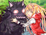 1girl bandages big_bad_wolf_(grimm) blonde_hair blush closed_eyes grimm's_fairy_tales hug little_red_riding_hood little_red_riding_hood_(grimm) long_hair neko_(artist) smile wolf