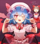 2girls 60mai ;d ascot bangs bare_shoulders bat_wings black_hair blue_hair blush bow brooch commentary_request crossed_arms detached_sleeves dress eyebrows_visible_through_hair fang fog gradient gradient_background grey_background hair_between_eyes hair_bow hair_tubes hakurei_reimu hands_up hat hat_ribbon jewelry jitome long_sleeves looking_at_viewer multiple_girls one_eye_closed open_mouth pink_dress pink_headwear pointing pointing_at_self puffy_short_sleeves puffy_sleeves purple_background red_bow red_dress red_eyes red_neckwear red_ribbon remilia_scarlet ribbon short_hair short_sleeves sidelocks smile solo_focus touhou translated upper_body wide_sleeves wings |_|
