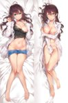 2girls ;) ahoge bare_legs barefoot bed_sheet between_legs blue_eyes blush breasts brown_hair camisole cleavage collarbone dakimakura earrings full_body groin hair_between_eyes hand_between_legs highres ichinose_shiki idolmaster idolmaster_cinderella_girls jewelry large_breasts long_hair looking_at_viewer lying midriff multiple_girls naked_shirt navel nipples no_panties on_back on_side one_eye_closed open_clothes open_shirt pants_pull shirt shirt_pull shorts shorts_pull smile yuran_(cozyquilt)