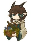 1girl basket blue_eyes bottle brown_hair cloak eyebrows_visible_through_hair facepaint flower hair_tubes holding horns leaf looking_to_the_side original pointy_ears satsumai short_hair solo tagme upper_body