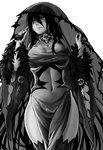 1girl banshee_(monster_girl_encyclopedia) bare_shoulders black_dress black_hair black_legwear breasts detached_sleeves dress fur_trim greyscale hair_between_eyes heart heart-shaped_pupils highres large_breasts long_hair monochrome monster_girl monster_girl_encyclopedia navel pale_skin pointy_ears see-through side_slit simple_background skull solo symbol-shaped_pupils tears thighhighs undead veil white_background wide_sleeves zakirsiz