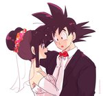 1boy 1girl :o artist_name bangs bare_shoulders black_eyes black_hair bridal_veil chi-chi_(dragon_ball) couple dragon_ball dragon_ball_z dress elbow_gloves eyebrows_visible_through_hair flower formal gloves happy hetero highres long_sleeves looking_at_another miiko_(drops7) necktie open_mouth shirt short_hair simple_background sleeveless smile son_gokuu spiked_hair suit tied_hair twitter_username veil wedding_dress white_background white_shirt