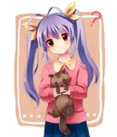 1girl ? antenna_hair gu_(non_non_biyori) long_hair makohime miyauchi_renge non_non_biyori purple_hair red_eyes solo tanuki twintails